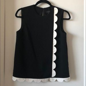 Black and white scalloped blouse